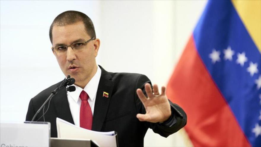 El canciller venezolano, Jorge Arreaza, durante una rueda de prensa en Caracas (capital).