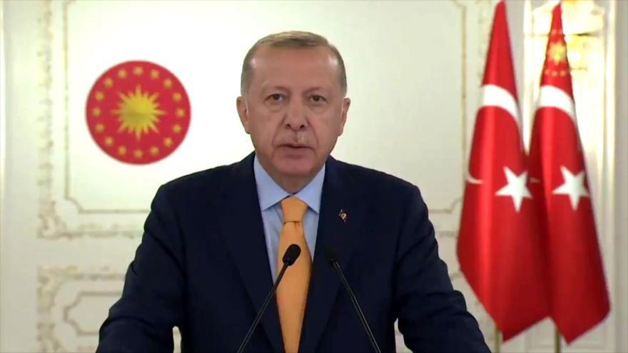 El presidente turco, Recep Tayyip Erdogan, habla en una sesión virtual de la Asamblea General de las Naciones Unidas (AGNU), 22 de septiembre de 2020.