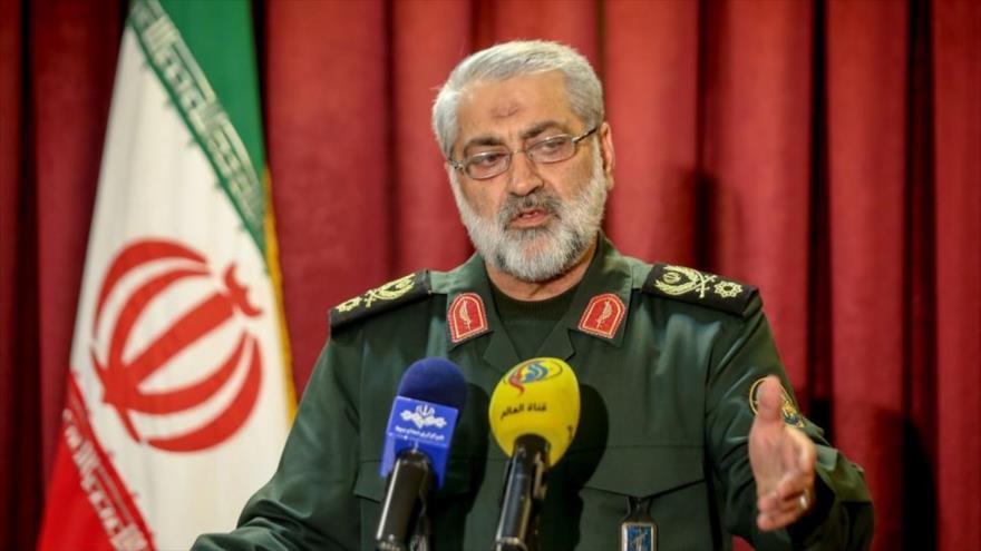 El general de brigada Abolfazl Shekarchi, portavoz jefe del Estado Mayor de las Fuerzas Armadas de Irán, en un acto oficial en Teherán, la capital.