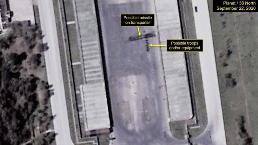 Foto satelital del sitio del desfile en Corea del Norte, 22 de septiembre de 2020.