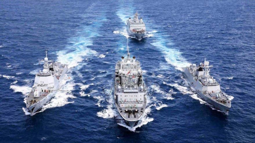 Buques de Irán, Rusia y China, durante los ejercicios militares conjuntos a gran escala en el océano Índico, 27 al 30 de diciembre de 2019.