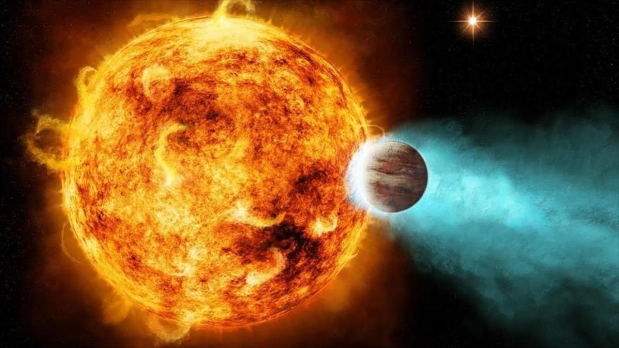 "Imagen ilustrativa del primer ""Neptuno Ultra Caliente"" que orbita la estrella LTT 9779."