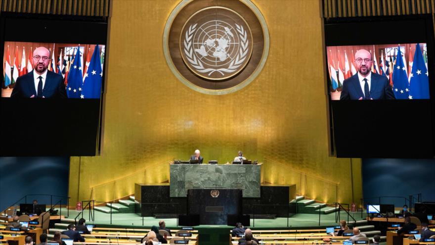 El presidente del Consejo Europeo, Charles Michel, asiste virtualmente al debate general de la 75.ª sesión de la AGNU, 25 de septiembre de 2020. (Foto: AFP)