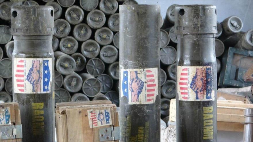 Armas de fabricación estadounidense confiscadas por las Fuerzas Armadas yemeníes.