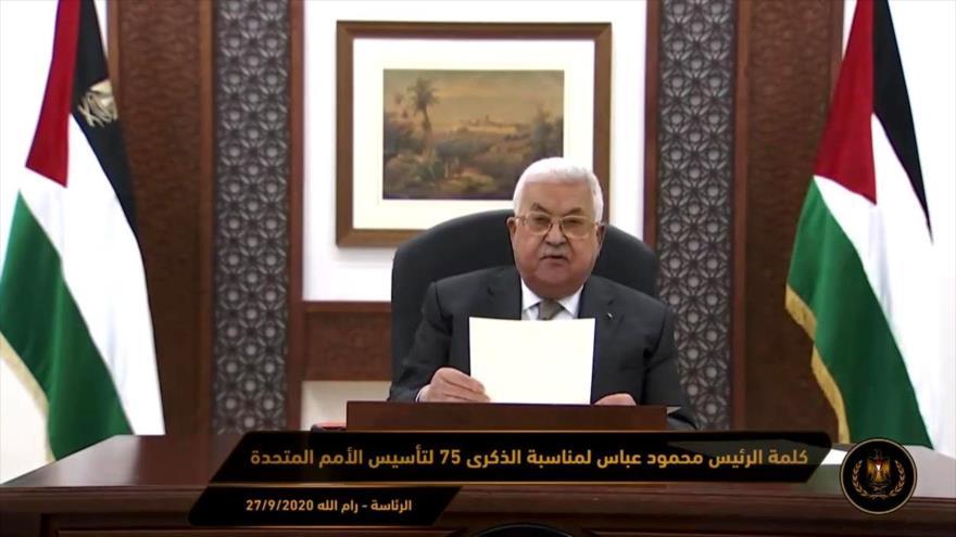 El presidente palestino, Mahmud Abás, ofrece un discurso virtual con motivo del 75.º aniversario de la fundación de la ONU, 27 de septiembre de 2020.