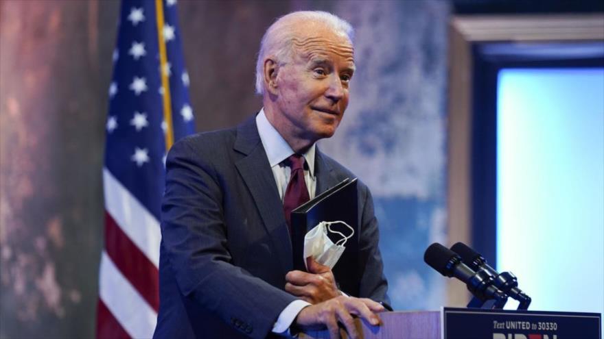 El candidato demócrata a la Presidencia de EE.UU., Joe Biden, pronuncia un discurso en la Corte Suprema en el Queen Theatre, 27 de septiembre de 2020.