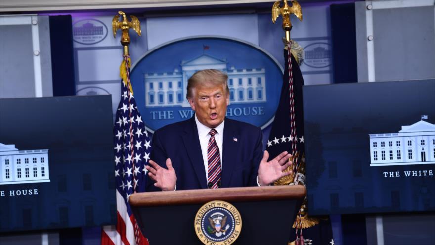 El presidente de EE.UU., Donald Trump, en una rueda de prensa concedida en la Casa Blanca, Washington (la capital), 27 de septiembre de 2020. (Foto: AFP)