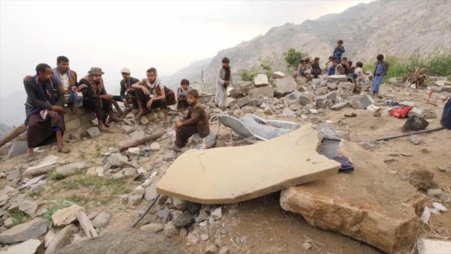 Escena de un reciente ataque lanzado por Arabia Saudí contra una vivienda civil en el norte de Yemen. (Foto: Sky News)
