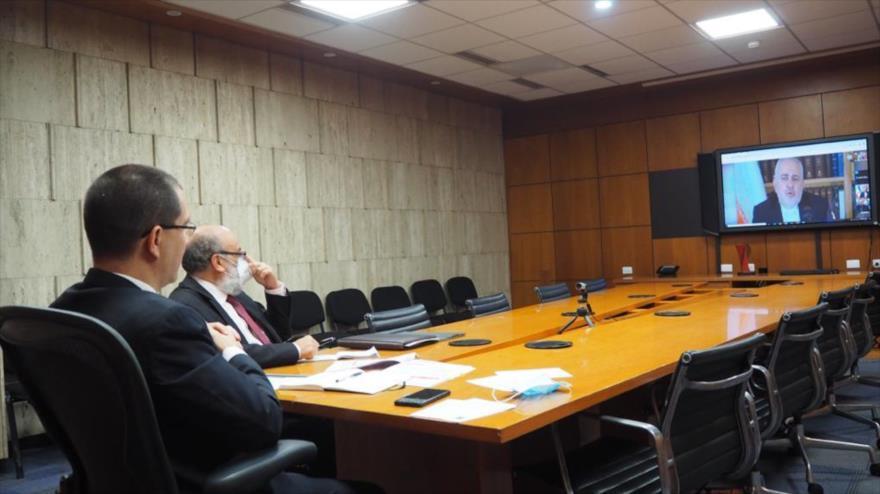 El canciller venezolano, Jorge Arreaza, durante un diálogo virtual con su par iraní, Mohamad Yavad Zarif, 28 de septiembre de 2020.