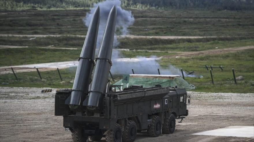 Un sistema de misiles balísticos Iskander de fabricación rusa.