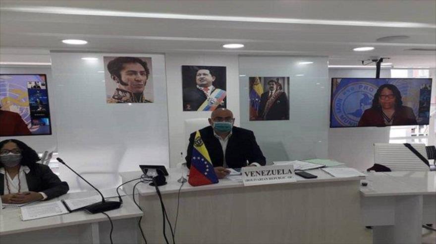 El ministro de Salud de Venezuela, Carlos Alvarado, en la 58 reunión anual del Consejo Directivo de la Organización Panamericana de la Salud (OPS), Caracas, 29 de septiembre de 2020.