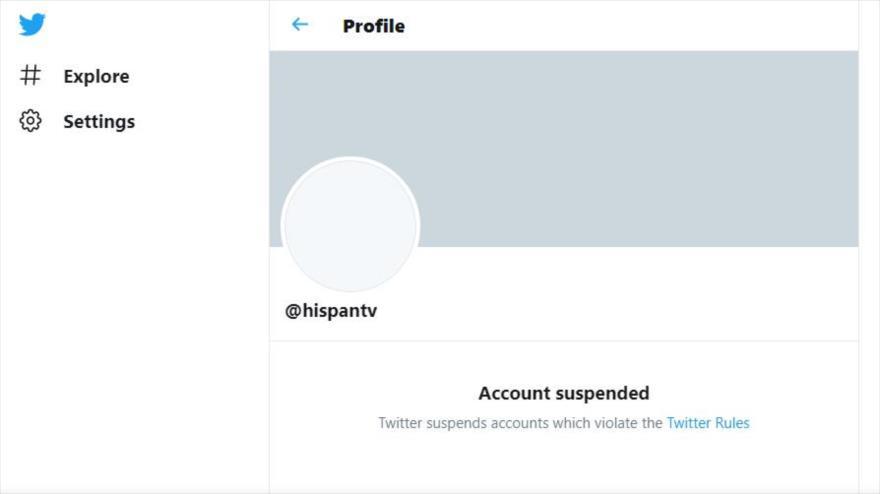 Cuenta de la cadena HispanTV, suspendida por Twitter.