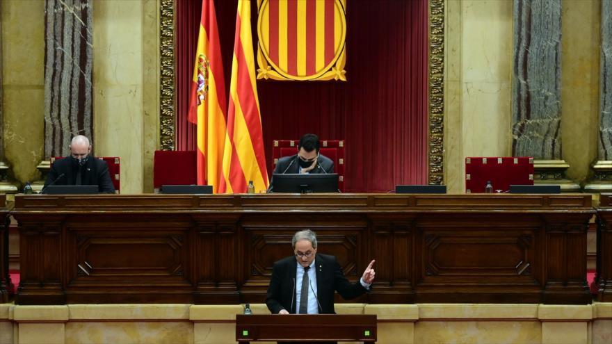 El ya expresidente de la Generalitat de Cataluña, Quim Torra, dirige un discurso al parlamento regional en Barcelona, el 30 de septiembre de 2020. (Foto: AFP)