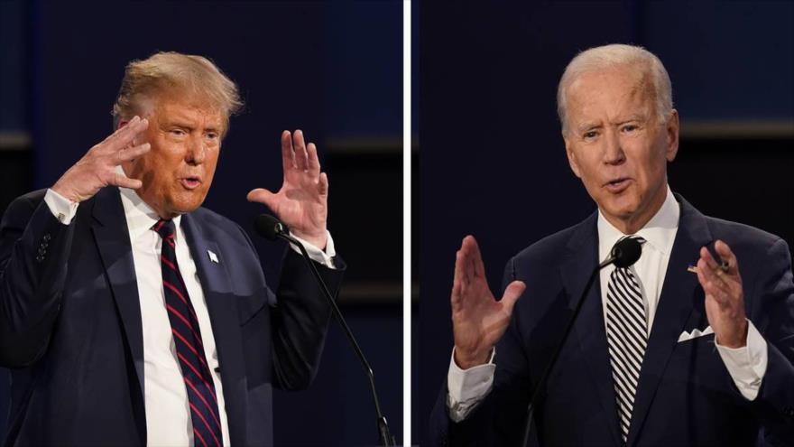El presidente de EE.UU., Donald Trump (izda.), y su rival demócrata Joe Biden en el primer debate presidencial, en Cleveland, Ohio. (Foto: AP)