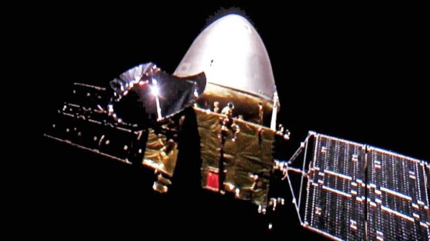 La primera selfie de la sonda china Tianwen 1 en su camino a Marte. (Foto: CNSA)