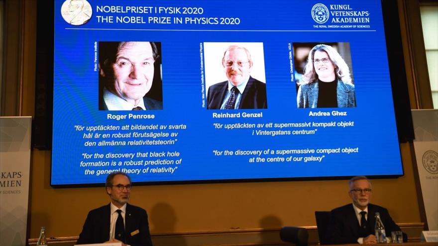 Roger Penrose, Reinhard Genzel y Andrea Ghez lograron el Nobel de Física 2020, anunció la Real Academia de las Ciencias de Suecia, 6 de octubre de 2020.