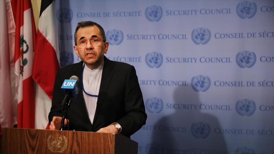 El representante permanente de Irán ante la ONU, Mayid Tajt Ravanchi, durante una rueda de prensa en Nueva York (EE.UU.), 24 de junio de 2019. (Foto: AFP)