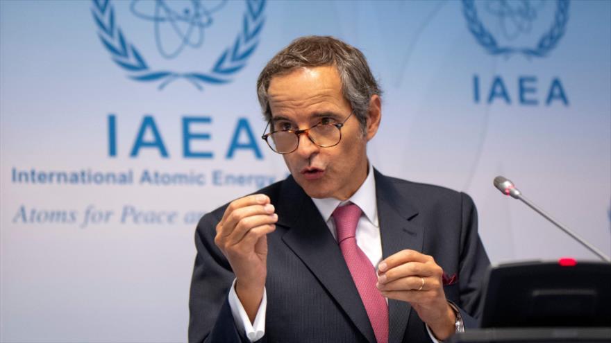 El director general de la AIEA, Rafael Grossi, en una conferencia de prensa en Viena (capital de Austria), 14 de septiembre de 2020. (Foto: AFP)