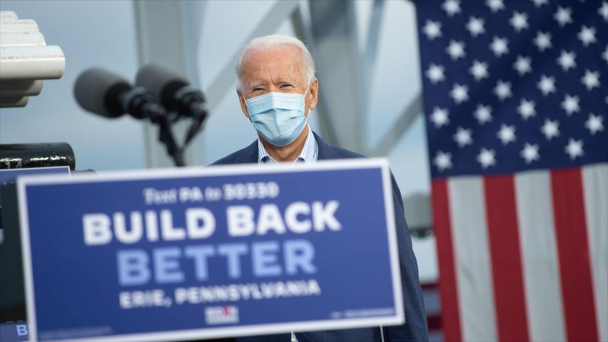Joe Biden, candidato demócrata a la Presidencia de EE.UU., ofrece un mitin en Erie, Pensilvania, el 10 de octubre de 2020. (Foto: AFP)