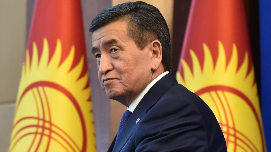 El presidente kirguís, Sooronbay Jeenbekov, durante una rueda de prensa en Bishkek (capital), 25 de diciembre de 2019. (Foto:AFP)