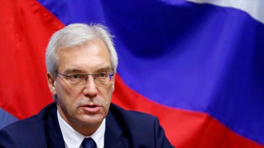 El viceministro ruso de Asuntos Exteriores,Alexandr Grushkó, durante una rueda de prensa en Bruselas, Bélgica. (Foto: Reuters)