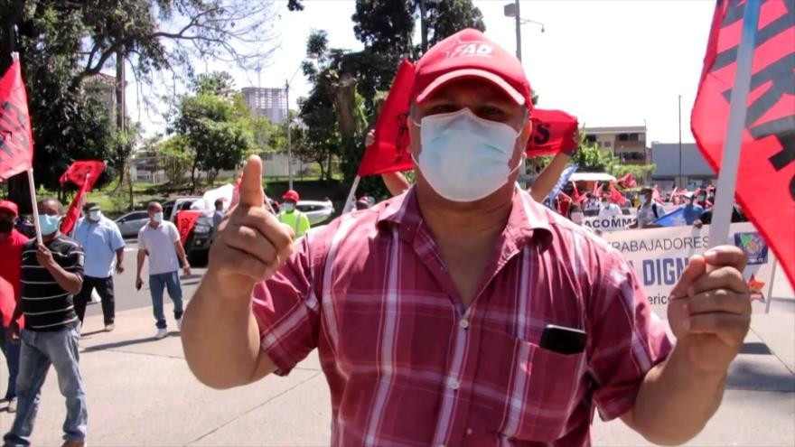 Trabajadores de la construcción marchan en ciudad de Panamá