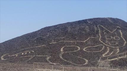 Descubren un nuevo geoglifo con forma de gato en Perú