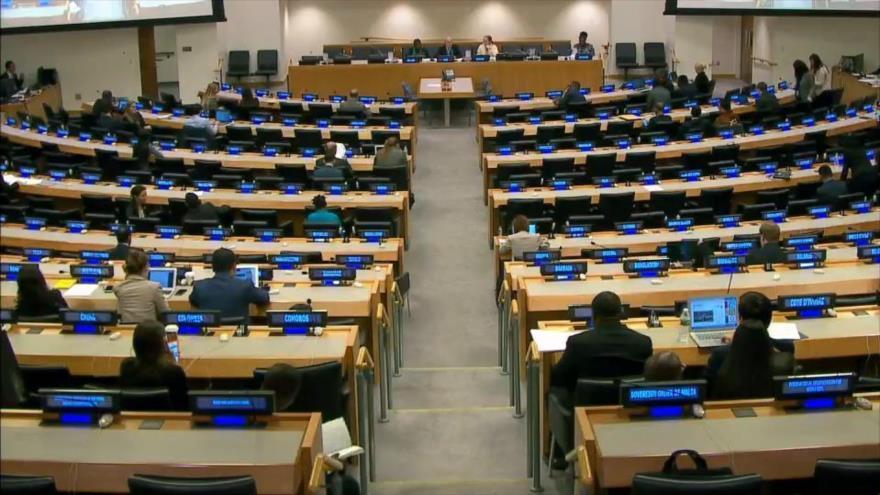 Sala donde se celebra la tercera Comisión de la Asamblea General de las Naciones Unidas (AGNU), el 16 de octubre de 2020.