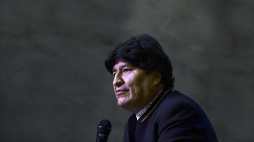 El expresidente de Bolivia Evo Morales durante una rueda de prensa en Buenos Aires (capital argentina), 21 de febrero de 2020. (Foto: AFP)