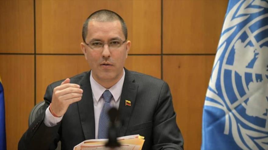 El canciller de Venezuela, Jorge Arreaza, habla durante la Conferencia Regional de la FAO para América Latina y el Caribe, 19 de octubre de 2020.
