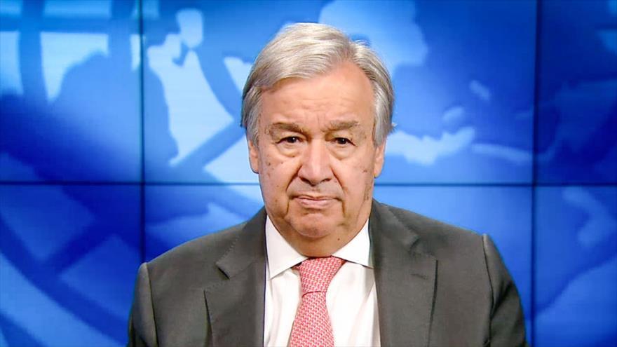 El secretario general de la ONU, Antonio Guterres, habla por videoconferencia en un evento, 10 de octubre de 2020. (Foto: AFP)
