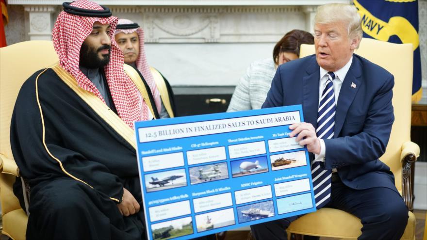 El príncipe heredero saudí, Muhamad bin Salman (izda.), y el presidente de EE.UU., Donald Trump, en la Casa Blanca, 20 de marzo de 2018. (Foto: AFP)