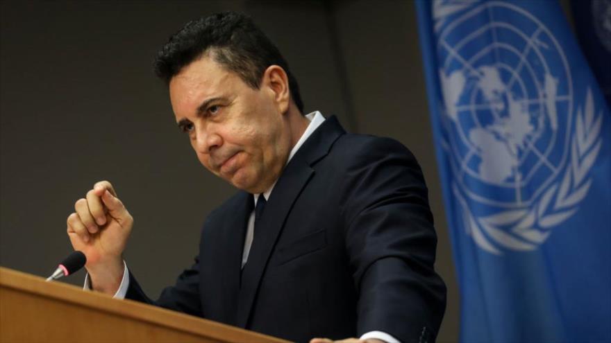 El embajador venezolano ante la ONU, Samuel Moncada, en una rueda de prensa en la sede del ente, Nueva York (EE.UU.), 6 de agosto de 2019. (Foto: AFP)
