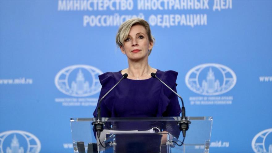 La portavoz de la Cancillería de Rusia, María Zajárova, en una rueda de prensa en Moscú, la capital rusa.