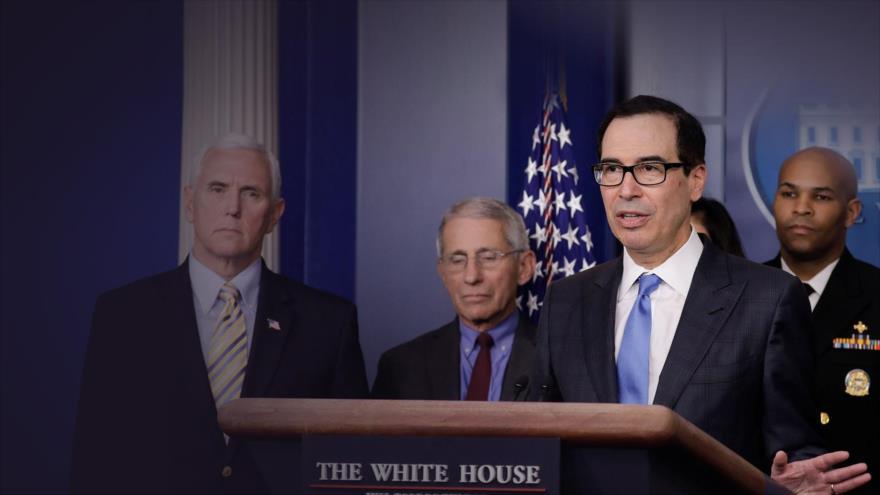 El secretario del Tesoro de EE.UU., Steve Mnuchin, habla durante una conferencia de prensa en la Casa Blanca, 14 de marzo de 2020 (Foto: Reuters).