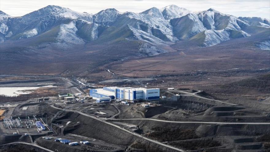 Una imagen aérea del yacimiento sin explotar de oro del mayor productor de oro de Rusia, PJSC Polyus, en Sujói Log, en la región siberiana de Rusia.