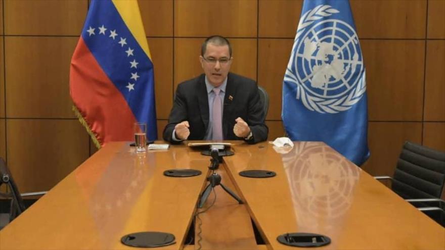 El canciller venezolano, Jorge Arreaza, interviene en una reunión virtual por motivo del 75.º aniversario de la creación de la ONU, el 23 de octubre de 2020.