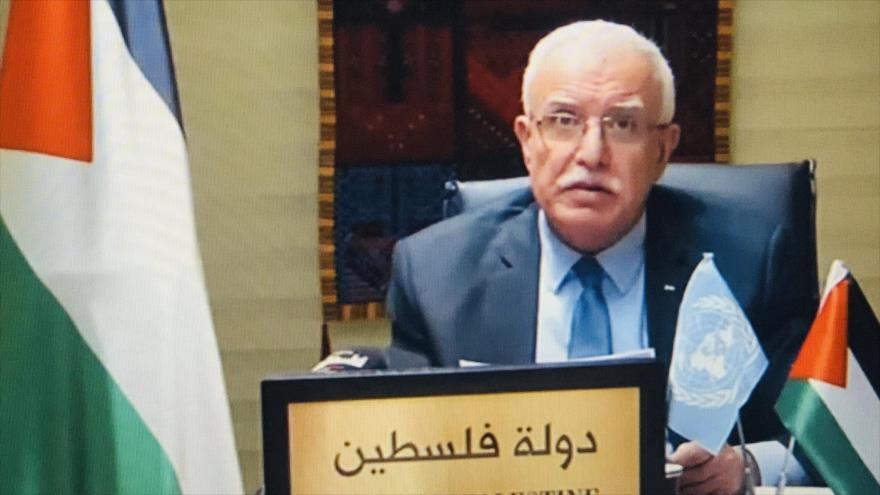 El ministro palestino de Asuntos Exteriores, Riad al-Maliki, 26 de octubre de 2020.