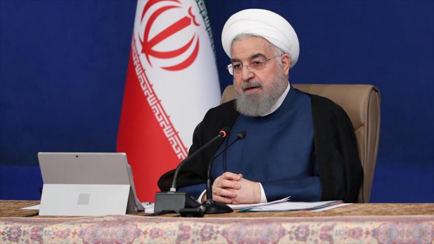El presidente iraní, Hasan Rohani, durante una reunión del Gabinete en Teherán (capital), 28 de octubre de 2020. (Foto: President.ir)