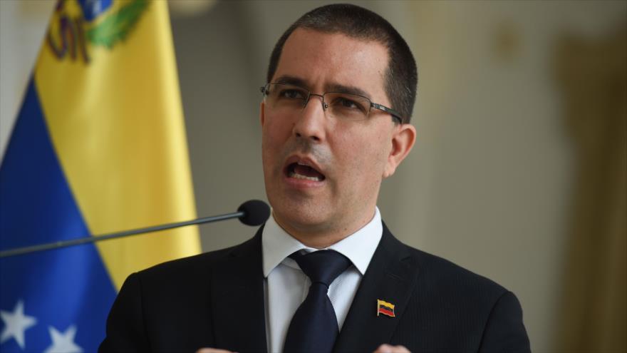El canciller venezolano, Jorge Arreaza, durante una rueda de prensa en Caracas (capital), 28 de septiembre de 2020. (Foto: AFP)