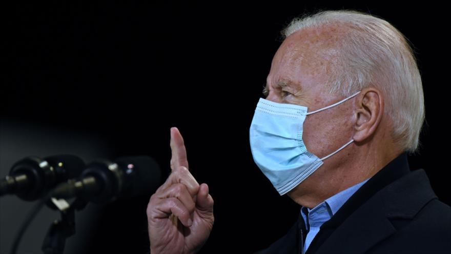 El candidato demócrata a las elecciones de EE.UU., Joe Biden, en un evento electoral en Wisconsin, 30 de octubre de 2020. (Foto: AFP)