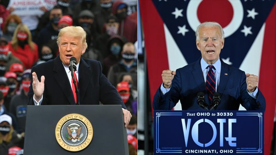 El presidente de EE.UU., Donald Trump (izq.) y su rival demócrata en las presidenciales, Joe Biden, ofrecen discursos en sus campañas electorales.