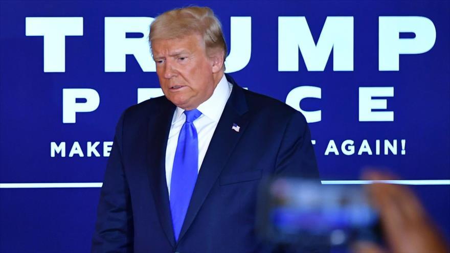 El presidente de Estados Unidos, Donald Trump,tras un discurso en la Casa Blanca, 4 de noviembre de 2020. (Foto: AFP)