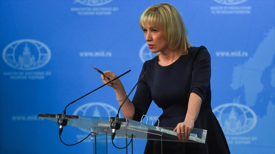 La portavoz de la Cancillería rusa, María Zajárova, ofrece una rueda de prensa.