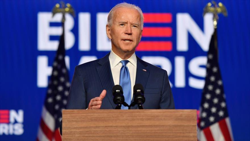 El presidente electo de EE.UU., Joe Biden, pronuncia declaraciones en el Chase Center en Wilmington, Delaware, 6 de noviembre de 2020. (Foto: AFP)