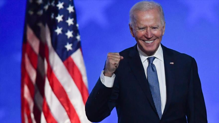 El presidente electo de EE.UU., Joe Biden, en la noche de las elecciones en Wilmington, Delaware, 4 de noviembre de 2020. (Foto: AFP)
