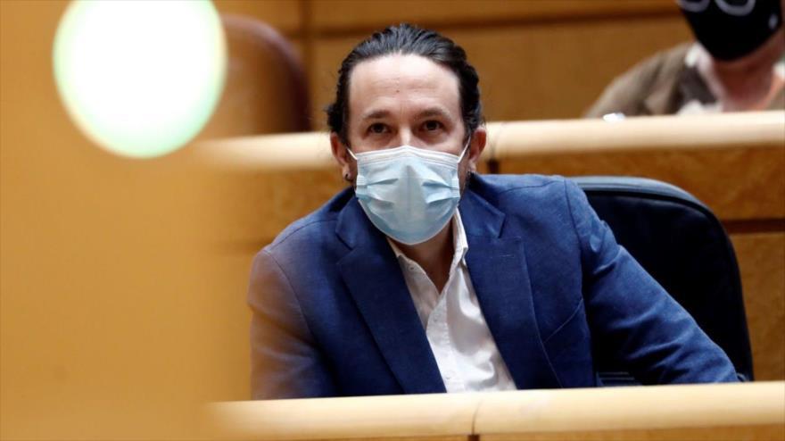 El líder de Unidas Podemos, Pablo Iglesias, en una sesión de control del Senado de España, noviembre de 2020. (Foto: EFE)