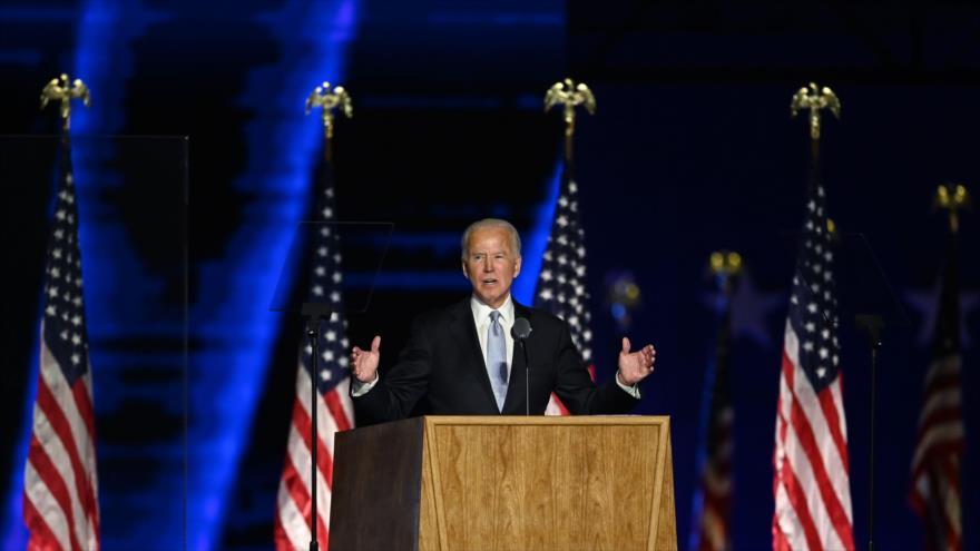 El presidente electo de EE.UU., Joe Biden, ofrece un discurso en Wilmington, Delaware, 7 de noviembre de 2020. (Foto: AFP)
