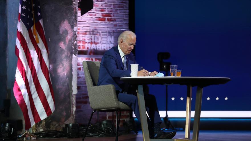 El presidente electo de EE.UU., Joe Biden, en un mitin en Wilmington, Delaware, 9 de noviembre de 2020. (Foto: AFP)