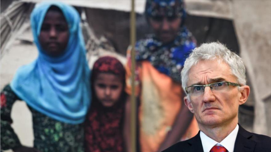El subsecretario general de las Naciones Unidas para Asuntos Humanitarios, Mark Lowcock, en una conferencia sobre Yemen, en Ginebra, 3 de abril de 2018.